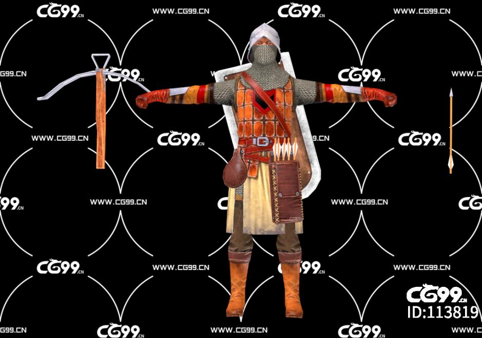 PBR 欧美 角色 游戏模型 精炼弩手