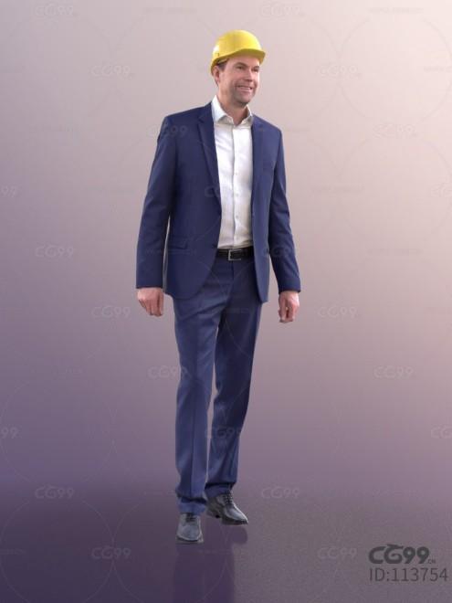 3D扫描角色 现代男性 休闲服饰 西装 戴工业头盔