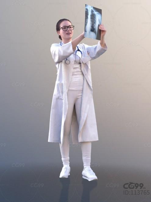 3D扫描角色 现代女性 亚洲美女 医生 看片