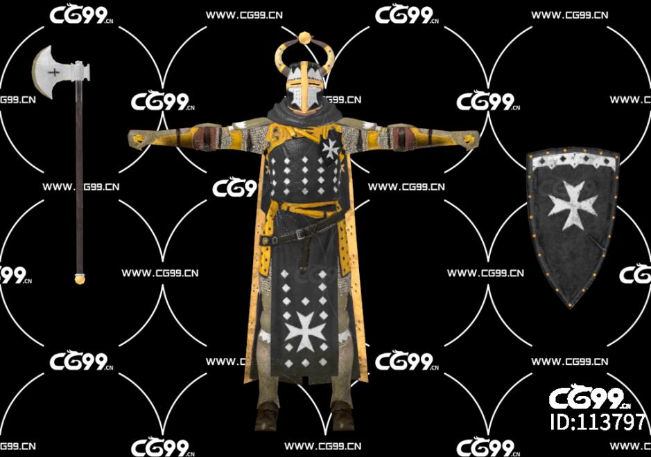 游戏模型 PBR 精美角色 王国护卫