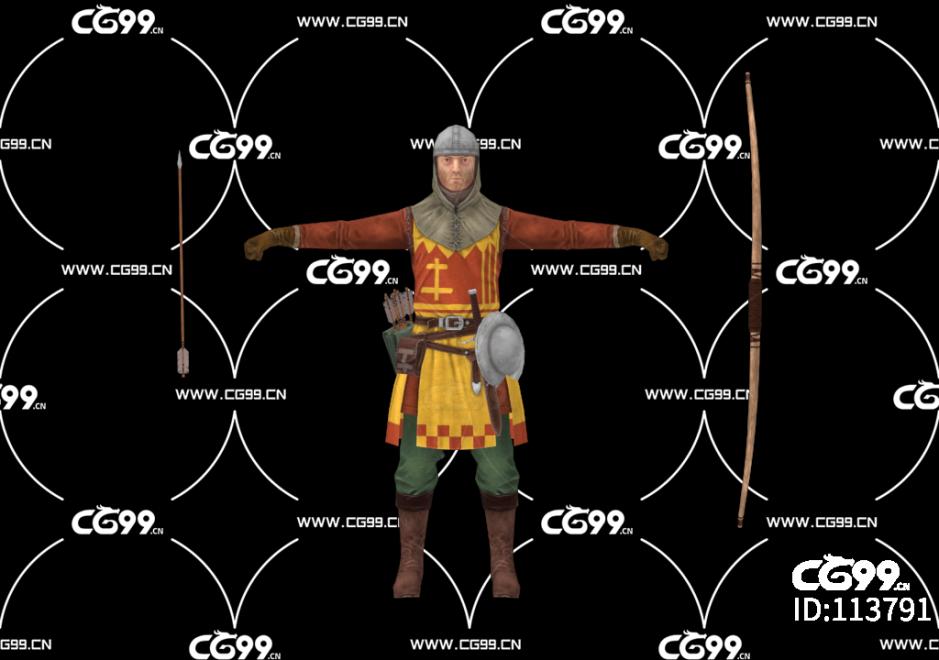 游戏模型 PBR 精美角色 弓箭手 神射手