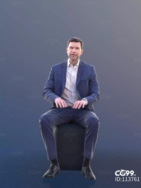 3D扫描角色 现代男性 西装 端坐