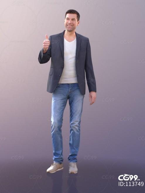 3D扫描角色 现代男性 休闲服饰 西装外套 点赞
