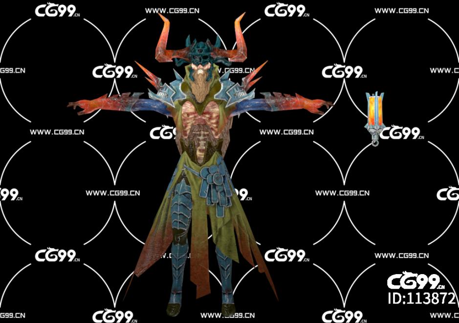 游戏模型 PBR 精美角色 牛角恶魔