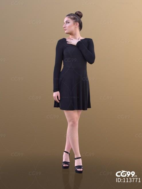 3D扫描角色 现代女性 欧美 黑色长裙
