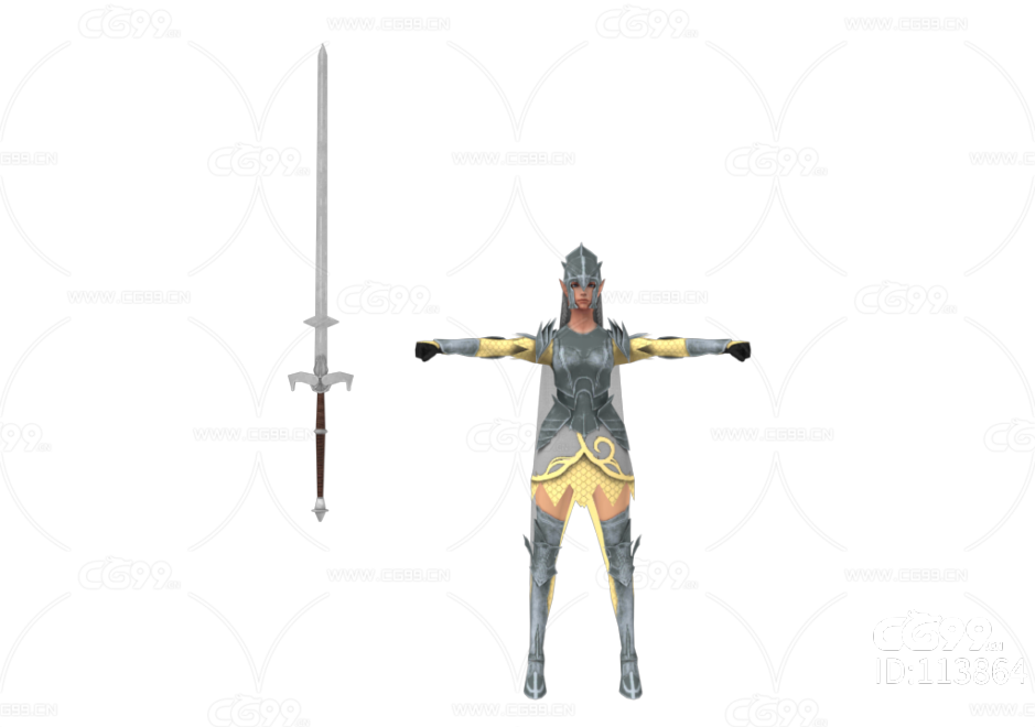PBR 欧美 日系 游戏模型 女士兵 骑士