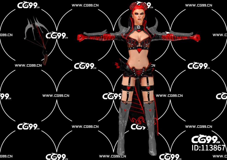 PBR 欧美 日系 游戏模型 女弓箭手 女弩手
