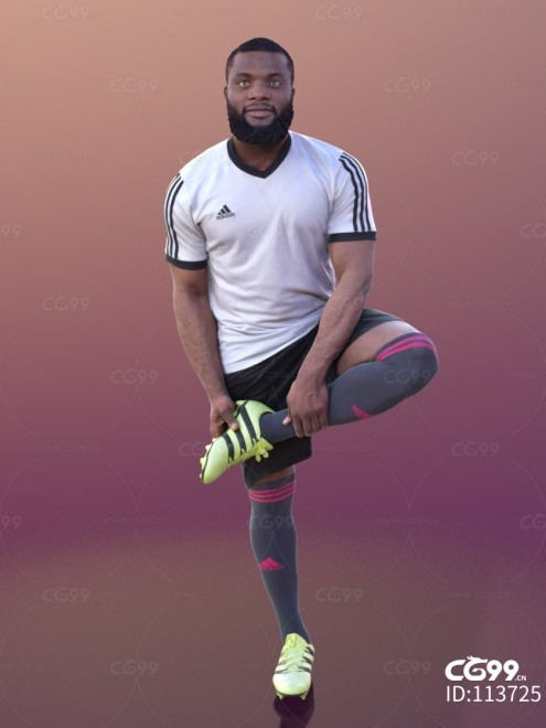 3D扫描角色 现代男性 足球运动员 拉伸
