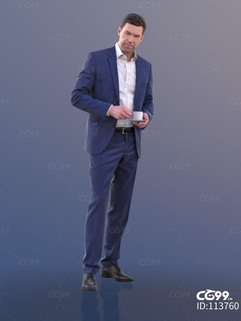 3D扫描角色 现代男性 西装 喝咖啡