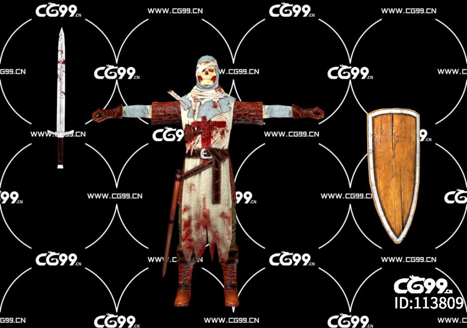 游戏模型 PBR 精美角色 死灵战士 骷髅