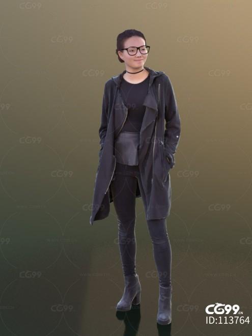 3D扫描角色 现代女性 亚洲美女 休闲服饰 黑色