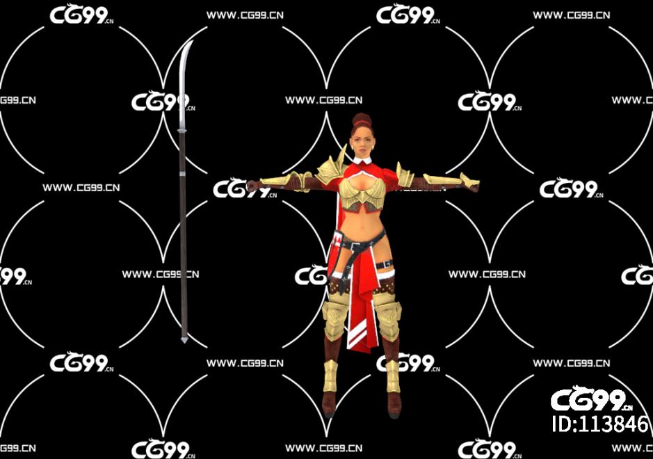PBR 欧美 角色 游戏模型 武将 战士