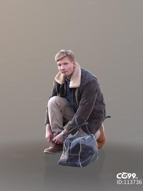 3D扫描角色 现代男性 休闲服饰 系鞋带