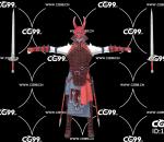 PBR 欧美 日系 游戏模型 面具 双剑 武士