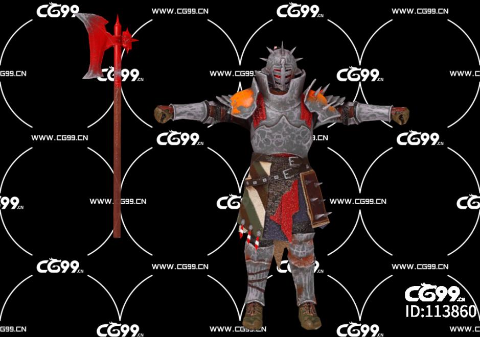 PBR 欧美 日系 游戏模型 钢甲武士