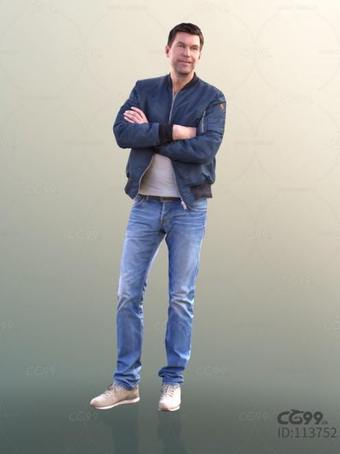 3D扫描角色 现代男性 休闲服饰 棒球服