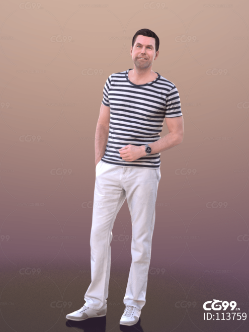 3D扫描角色 现代男性 休闲服饰 条纹衣服