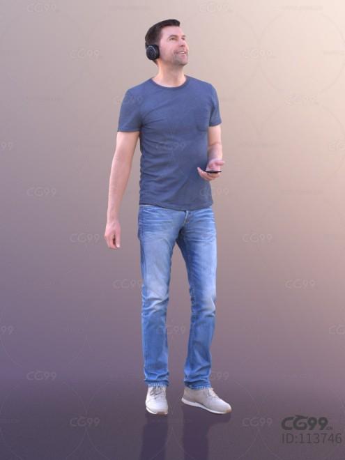 3D扫描角色 现代男性 休闲服饰 牛仔裤 听歌