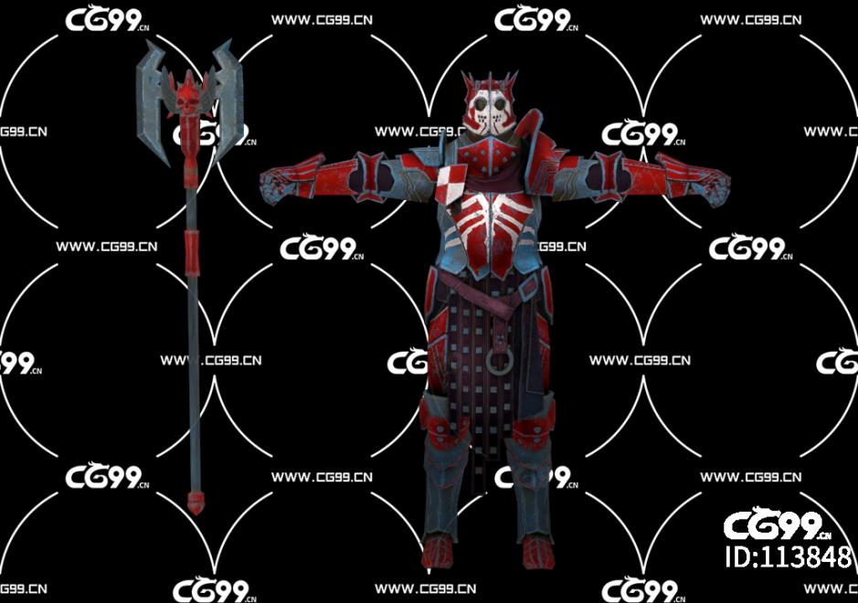 PBR 欧美 角色 游戏模型 战士 武士