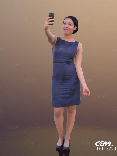 3D扫描角色 现代女性 黑人 包臀裙 自拍