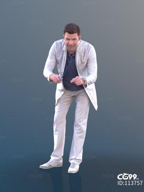 3D扫描角色 现代男性 长白褂 医生