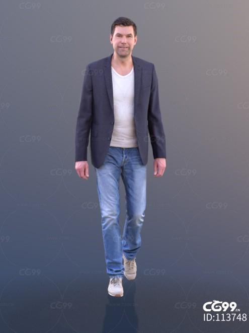 3D扫描角色 现代男性 休闲服饰 西装外套