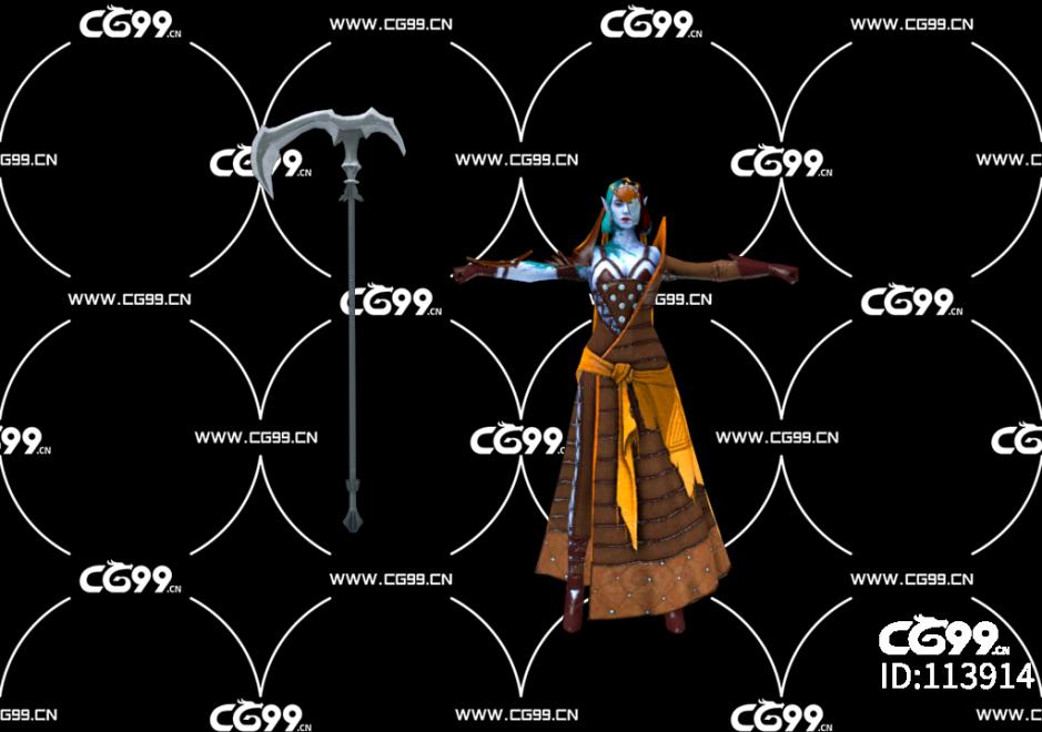 游戏模型 PBR 精美角色 带镰刀的女恶魔