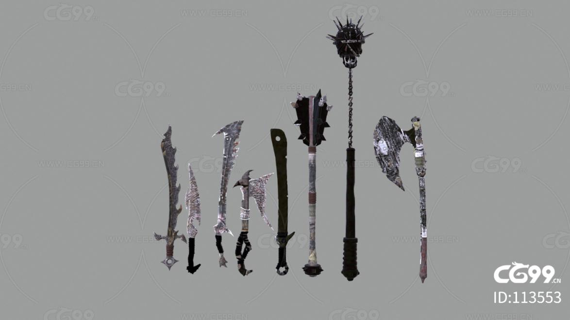 中世纪风格 魔幻装饰 道具 游戏场景 兵器组合
