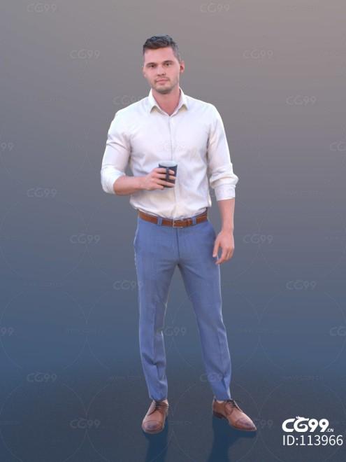 3D扫描角色 现代男性 休闲服饰 端咖啡