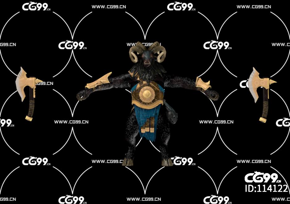 PBR 欧美 日系 游戏模型 绵羊 斧兵怪物