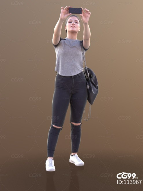 3D扫描角色 现代女性 休闲服饰 拿手机拍照