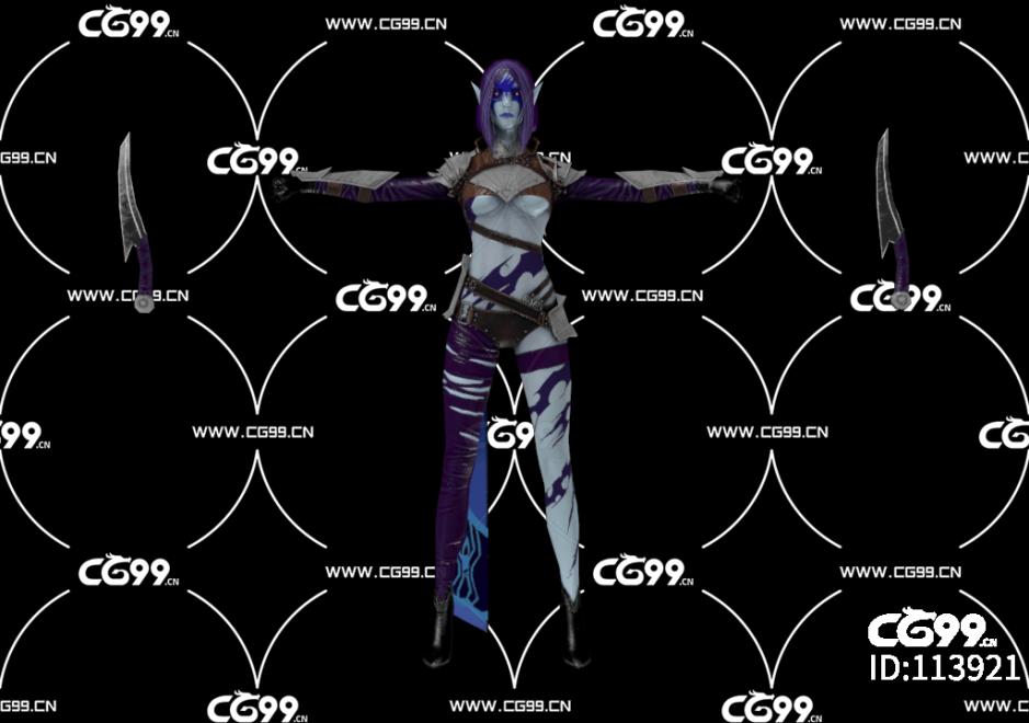PBR 欧美 日系 游戏模型 暗黑 女刺客