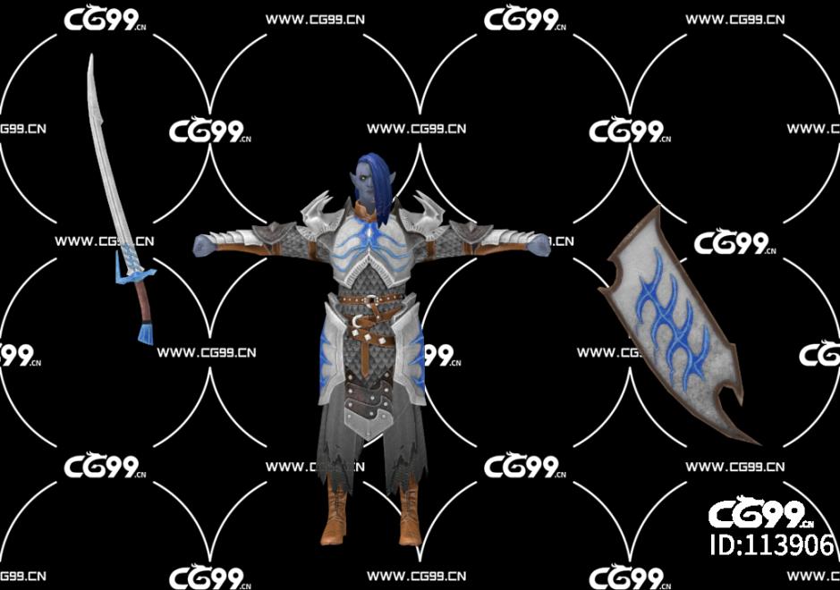 PBR 欧美 角色 游戏模型 骑士 西欧骑士 战士