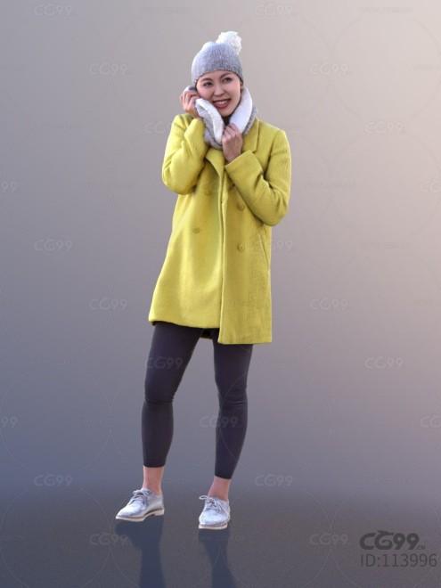 3D扫描角色 现代女性 休闲服饰 冬季时装