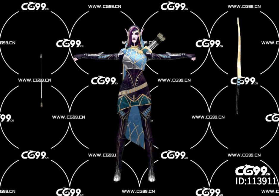 游戏模型 PBR 精美角色 精灵弓箭手
