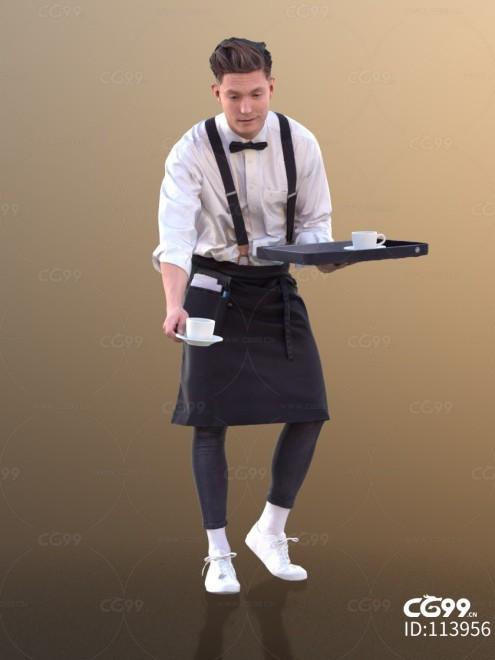 3D扫描角色 现代男性 时尚男人 餐厅服务员 递茶