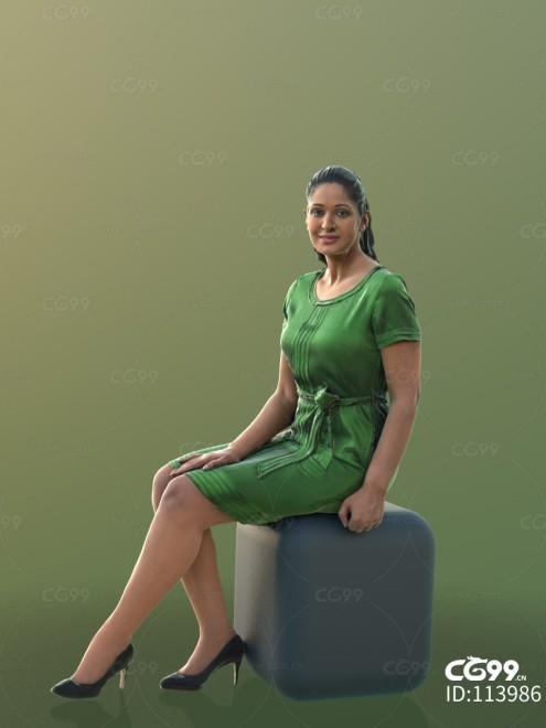 3D扫描角色 现代女性 休闲服饰 绿色长裙(端坐)