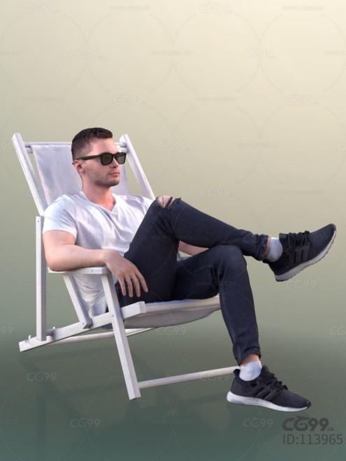 3D扫描角色 现代男性 休闲服饰 晒太阳