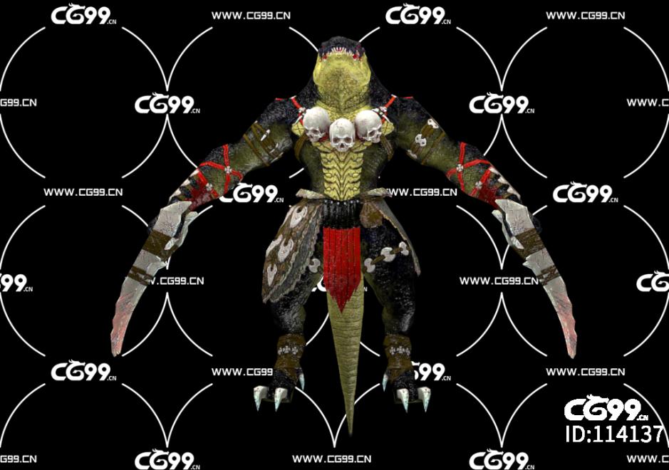 PBR 欧美 角色 游戏模型 蜥蜴战士