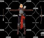 PBR 欧美 角色 游戏模型 女弓箭手 射手