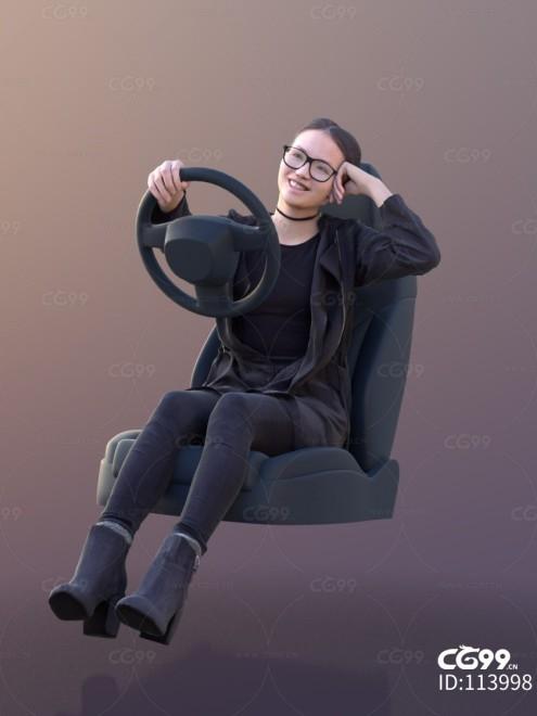 3D扫描角色 现代女性 驾驶姿势