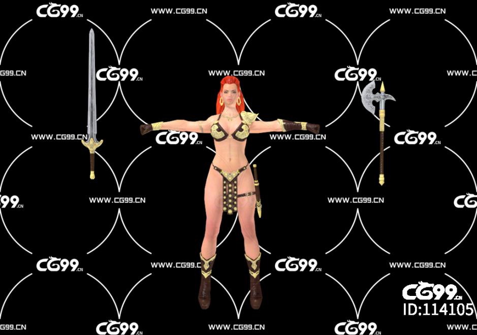 PBR 欧美 角色 游戏模型 女战士