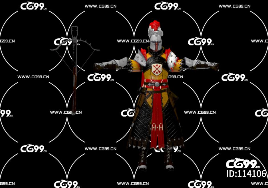 PBR 欧美 角色 游戏模型 将军 弩手 士官