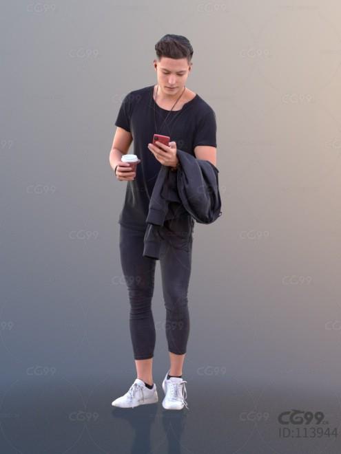 3D扫描角色 现代男性 时尚男人 休闲服饰