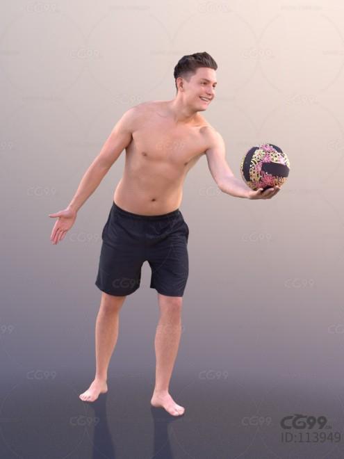 3D扫描角色 现代男性 时尚男人 沙滩排球