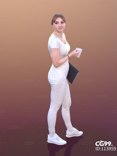 3D扫描角色 现代女性 休闲服饰 行走姿态