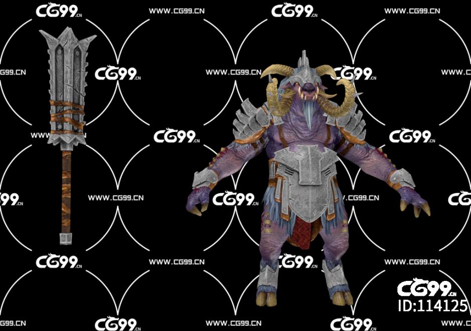 游戏模型 PBR 精美角色 怪物 恶魔 野猪