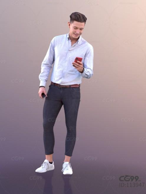 3D扫描角色 现代男性 时尚男人 休闲服饰 看手机