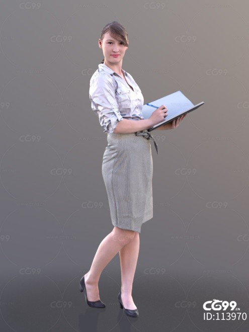 3D扫描角色 现代女性 上班族 秘书