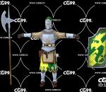 PBR 欧美 角色 游戏模型 骑士 斧兵